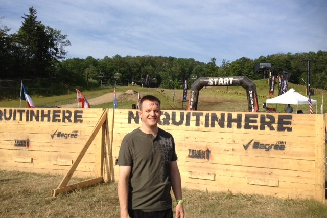 ERDC Deputy Commander Maj. Thomas Clair evaluates one of the many obstacles at the Tough Mudder event held recently at Vermont's Mount Snow.
