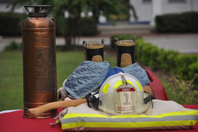 A display honors firefighters during the Fort Jackson ceremony in remembrance of 9/11 Tuesday in front of Post Headquarters.