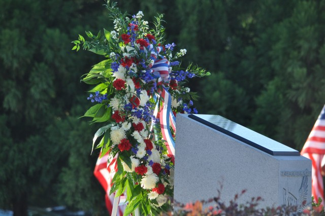 A wreath sits near the South Carolina Midlands First Responders Remembrance Memorial near the Columbia Metropolitan Convention Center.