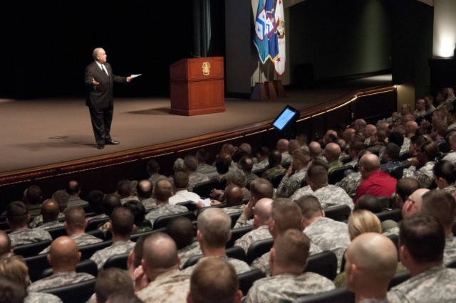 Under Secretary of the Army Joseph W. Westphal addresses students at the Command and General Staff College about their critical role in the Army of the Future and the importance of leader development, Sept. 7, 2012, Fort Leavenworth, Kan.