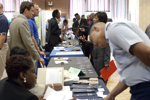JBM-HH's Army Career and Alumni Program, with the Virginia Employment Commission, sponsored a job fair in the Rec. Center, Sept. 10. Photo by Rachel Larue.
