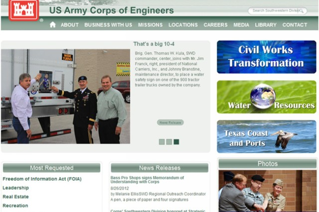 The Southwestern Division, U.S. Army Corps of Engineers, recently launched a newly designed website (www.swd.usace.army.mil) that provides more information in a multimedia, easily navigable format.