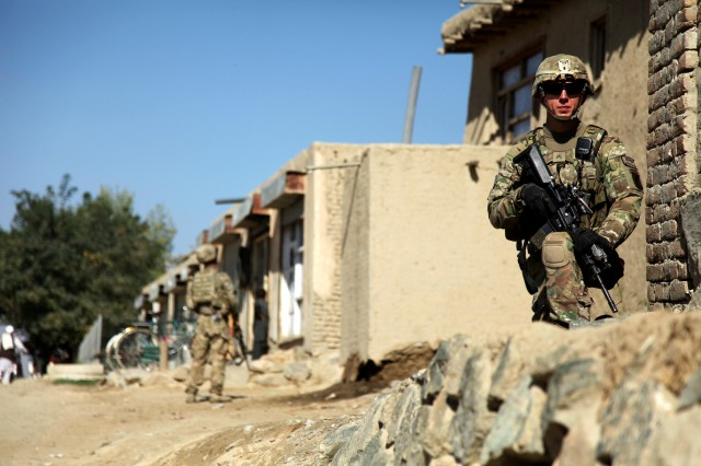A Soldier with B Troop, 1st Squadron, 91st Cavalry Regiment, Task Force 173rd Airborne Brigade Combat Team, provides security during a patrol in Logar Province, Afghanistan, Sept. 9, 2012, in support of Afghan National Security Forces as part of Operation Thunder.