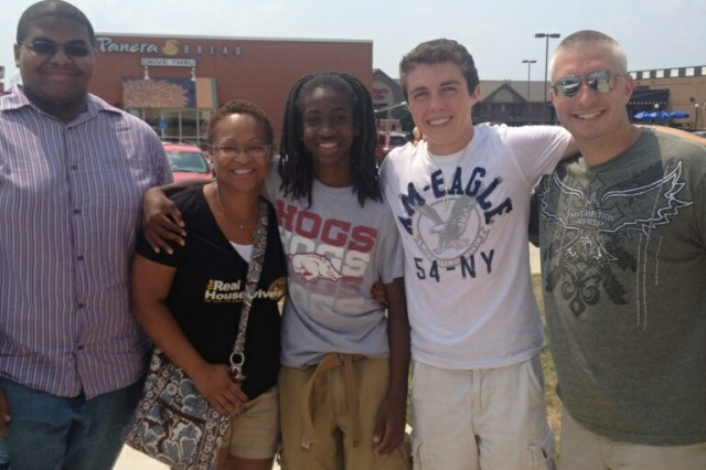 (From left) William Boyce, Nicole Farmer, Nigel Farmer, Thomas Johnson and Billy Ray Ashcraft pose for a picture during the week of the 2012 Central Region Youth Leadership Forum near Fort Leonard Wood, Mo. Nicole is the wife, and Nigel is the son, of Col. Nathaniel Farmer, former commander of the Pine Bluff Chemical Activity.