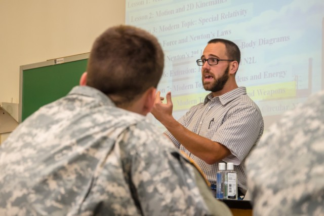 The U.S. Military Academy's Dave Kashinski teaches students advanced physics, Sept. 11, 2012.
