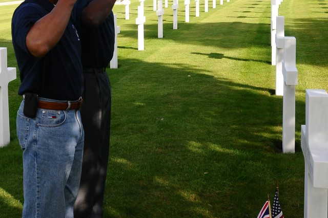 CAMBRIDGE, ENGLAND -- Lt. Col. Kevin Cotman and Command Sgt. Maj. Lenard Summers represent the 3rd Brigade Combat Team at Cambridge American Cemetery on September 16th, 2012.  Cambridge American Cemetery is the location of 33 Paratroopers from the 82nd Airborne Division who paid the ultimate sacrifice for our country.