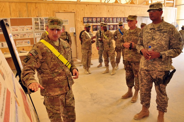 Maj. Thomas Krupp, the support operations officer for the 18th Combat Sustainment Support Battalion, briefs Lt. Gen. Vincent K. Brooks, Third Army/ARCENT commanding general, on retrosort operations at Kandahar Airfield on September 17, 2012. Retrosort operations are a part of the redeployment process, which sends equipment and cargo back to the United States.