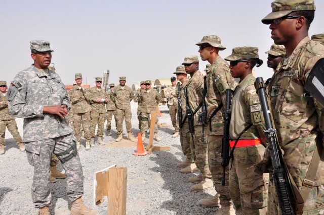 "Lt. Gen. Vincent K. Brooks, Third Army/ARCENT commanding general, talks to a group of Joint Sustainment Command "" Afghanistan Soldiers on September 17, 2012 at Kandahar Airfield. The general talked about the goals of the command and implored the troops to continue to work hard as they play key roles in the redeployment of military equipment."