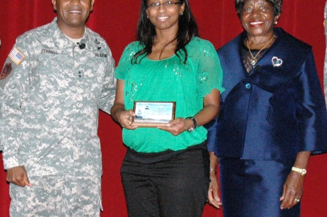 Dr. Asha Hall from the Vehicle Technology Directorate was recognized as the 2012 Outstanding Woman of the Year. Shown at the awards ceremony (l to r) are Maj. Gen. Robert Ferrell, commanding general of Aberdeen Proving Ground, Fry and guest speaker Brig. Gen. (ret) Clara Adams-Ender.