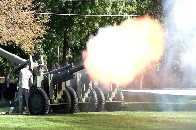 Soldiers fire a 17-gun salute just prior to the assumption of command. (Image by Greg Wilson, ASC Public Affairs)