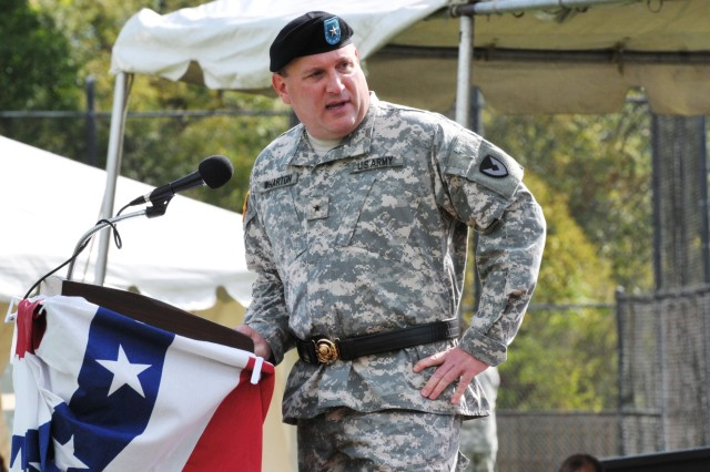 Brig. Gen. John F. Wharton, new ASC commanding general, gives his remarks during the assumption of command ceremony. (Photo by Jon Connor, ASC Public Affairs)