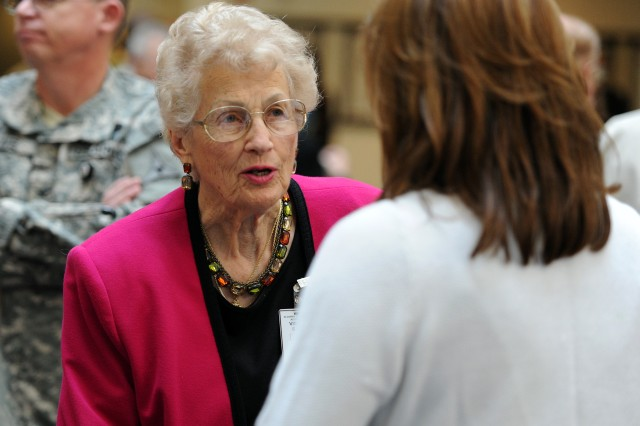 Longtime Killeen resident Juanita Faucett mingles following Fort Hood's 70th anniversary ceremony inside III Corps Headquarters at Fort Hood, Texas, Sept. 18, 2012. Faucett, 89, attended the the first ceremony opening this Central Texas installation as Camp Hood, Sept. 18, 1942.