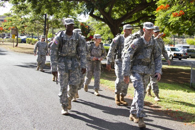 Paralegal soldiers from throughout the 8th Theater Sustainment Command begin their paralegal warrior competition ruck march on Aliamanu Military Reservation, competing to go on to the USARPAC paralegal warrior challenge in September.