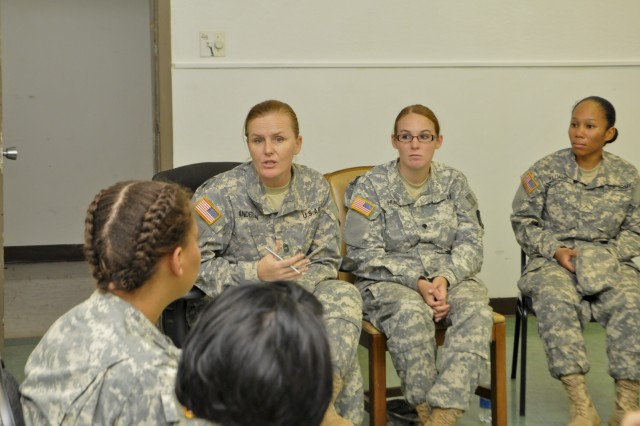 Master Sgt. Ruth L. Anderson, Informations System Chief for the 94th Army Air and Missile Defense Command held a Female Mentorship Program at Fort Shafter Flats on September 11, 2012. (Photos by Sgt. Louis Lamar 94th AAMDC Public Affairs 091112-A-UF861-001)