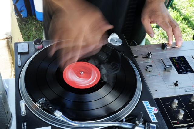 DJ Kibo spins tunes between live sets at Camp Zama's Music Fest.