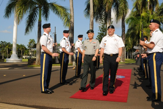 Lt. Gen. Francis Wiercinski, U.S. Army Pacific commander, escorts Gen. Oh Sung Kwon, deputy commander of the Republic of Korea-U.S. Combined Forces Command and the Ground Component Commander, during an Honor ceremony held at Historic Palm Circle on Fort Shafter, Hawaii, Sept. 19.