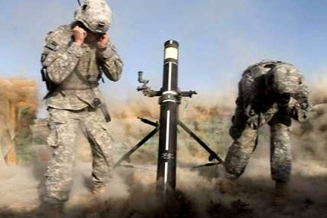 Spc. Nicholas Ketchen and Spc. Colt Corbin, mortarmen from Company C, 1st Battalion, 506th Infantry Regiment, 4th Brigade Combat Team, 101st Airborne Division, achieved a first in the U.S. Army history by firing a 120mm Mortar Precision Guided Munition for the first time in Afghanistan, and hitting within four meters of the target, on Forward Operation Base Kushamond, Afghanistan, March 26, 2011.
