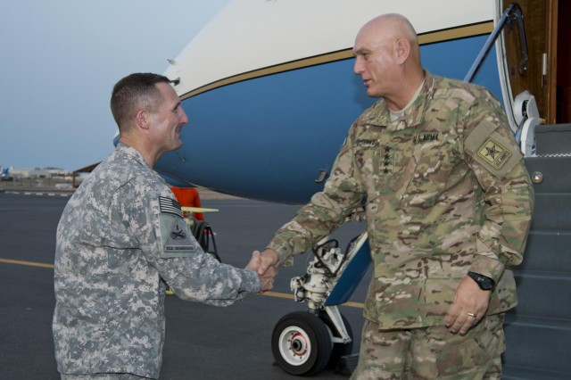 Maj. Gen. Rob Baker, Combined Joint Task Force - Horn of Africa commander, welcomes Chief of Staff of the Army Gen. Raymond T. Odierno for his first visit to Camp Lemonnier, Djibouti, Sept. 19, 2012. While visiting, Odierno held a Soldiers call to discuss current Army issues, his priorities and the Army's future.