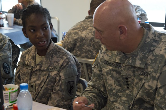 Spc. Jeraldine Smith, 448th Civil Affairs Battalion-Alpha Company administrator, speaks with Chief of Staff of the Army Gen. Raymond T. Odierno during breakfast at the Dorie Miller Galley, at Camp Lemonnier, Djibouti, Sept. 19, 2012. Smith shared her background and Army highlights with Odierno.