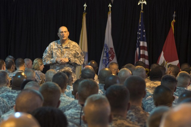 Chief of Staff of the Army Gen. Raymond T. Odierno discusses the importance of the Combined Joint Task Force - Horn of Africa mission at a Soldiers Call, Sept. 20, 2012, at Camp Lemonnier, Djibouti.