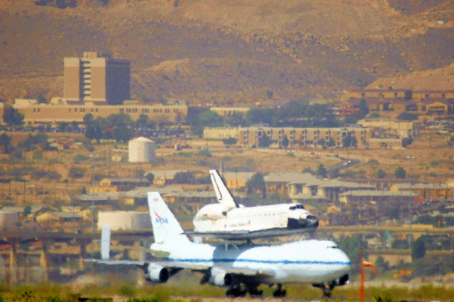 NASA's Space Shuttle Endeavour, perched atop a modified Boeing 747-100 airliner, takes off from the Departure/Arrival Airfield Control Group at Biggs Army Airfield, Texas, Sept. 20, 2012. The Endeavour has been decommsioned and was making its way across country to Edwards Air Foce Base, before moving to its permanent retirement home at the California Science Center in Los Angeles.