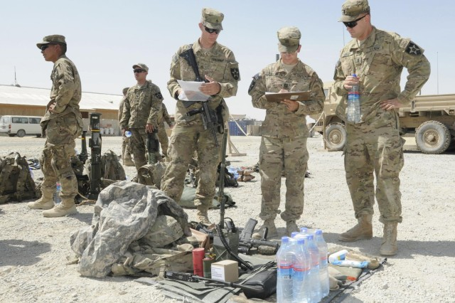 From left, Staff Sgt. Joshua Rinier, Capt. Lawrence Csaszar and 1st Lt. Adam Losey, members of Alpha Company, 5th Battalion, 20th Infantry Regiment, conduct inspections at Forward Operating Base Spin Boldak prior to an air assault mission during Operation Southern Strike III in the district of Spin Boldak, Kandahar province, Afghanistan, Aug. 31, 2012.