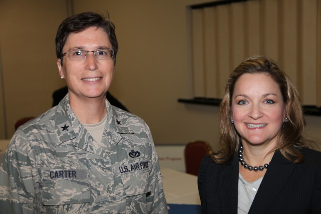 BG Theresa Carter, 502nd Air Base Wing Commander for Joint Base San Antonio and Paige Hinkle-Bowles, the Deputy Assistant Secretary of Defense for Civilian Personnel Policy met at the Hiring Heroes Career Fair at the Sam Houston Club, and discussed their expectations for results.  Both agreed that over 100 job offers, tentative job offers or solid leads would be the successful outcome of the job fair.