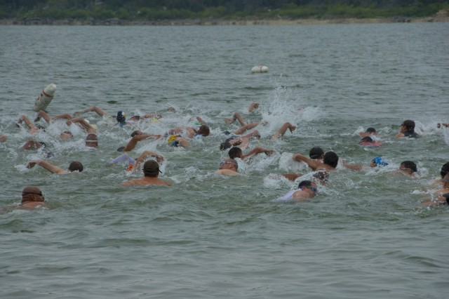 Male participants of the Sprint Triathlon near the half-way point of the swim event at BLORA Sept. 15.