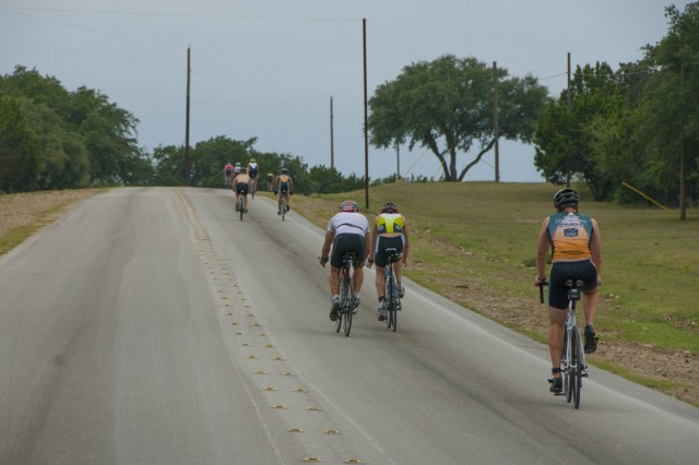 The male group of the Sprint Triathlon climbs the first hill in the biking stage of the event at BLORA Sept. 15.