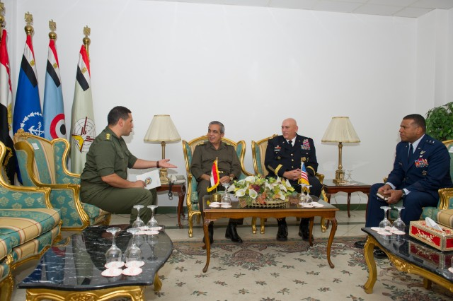 U.S. Army Chief of Staff Gen. Raymond T. Odierno meets with Maj. Gen. Ibrahim Nesouhi, Head of Training Authority for Egyptian military, in Cairo, Egypt Sept. 20, 2012. Odierno is in Egypt for a scheduled meeting with Egyptian military counterparts in order to establish future partnerships. (U.S. Army Photo by Staff Sgt. Teddy Wade/Released)