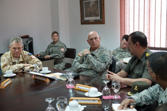 """U.S. Army Chief of Staff Gen. Raymond T. Odierno recieves an update brief on current operations in the Sinai Peninsula by New Zealand Army Maj. Gen. Warren James """"W.J."""" Whiting and Egyptian Army Maj. Gen. Ossama Abdel Aziz in South Camp near Sharm el Sheikh, Egypt Sept. 21, 2012. Whiting is the commanding general of the Multinational Force and Observers, and Aziz is the General Officer Chief of Liaison Agency with International Organizations (LAWIO). The MFO is an international peacekeeping force overseeing the terms of the peace treaty between Egypt and Israel. (U.S. Army Photo by Staff Sgt. Teddy Wade/Released)"""