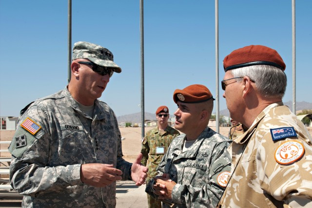 "U.S. Army Chief of Staff Gen. Raymond T. Odierno talks with New Zealand Army Maj. Gen. Warren James ""W.J."" Whiting, right, and U.S. Army Col. Robert Haycock, center, during his visit to South Camp near Sharm el Sheikh, Egypt in the southern tip of the Sinai Peninsula Sept. 21, 2012. Whiting is the commanding general of the Multinational Force and Observers, Haycock is the deputy commander of the MFO and commander of the U.S. Army Task Force Sinai. The MFO is an international peacekeeping force overseeing the terms of the peace treaty between Egypt and Israel. The MFO currently have troop formations from 12 different nations. (U.S. Army Photo by Staff Sgt. Teddy Wade/Released)"