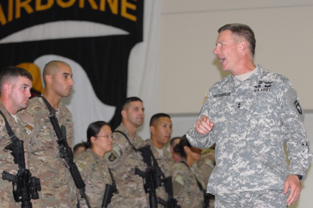 "Maj. Gen James McConville, Commanding General of the 101st Airborne Division, speaks to Soldiers of the 3rd Brigade Combat Team ""Rakkasans"", 101st Airborne Division about the importance of their mission before they deploy from Fort Campbell, Ky. to Afghanistan Sept. 2012 in support of Operation Enduring Freedom. Before departing, the Soldiers were given a chance to spend some of their last state-side moments with their families. (U.S. Army photo taken by Sgt. Alan Graziano, 3rd Brigade Combat Team, 101st Airborne Division)"