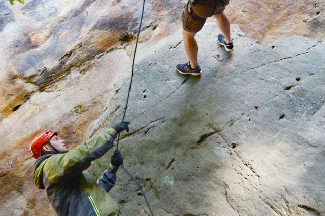 Spc. David Morgan, a temporary recreation assistant with the WAQ program assigned with HHC, 172nd Inf. Bde., teaches rappelling techniques to Pfc. Justin Warila of the 2nd Battalion, 28th Infantry Regiment.