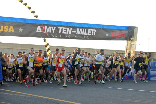 The 28th annual Army Ten-Miler race is scheduled to begin in front of the Pentagon, Oct. 21, 2012, in Washington, D.C. This year, priority registration sold out in less than 19 hours, which beat last year's record of three days. Pictured here, runners take off at the start of the 2011 Army Ten-Miler in Washington, D.C., Oct. 9, 2011.