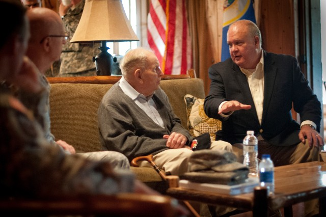 Retired Gen. John Vessey Jr., 10th chairman of the Joint Chiefs of Staff, and Under Secretary of the Army Joseph W. Westphal, discuss current Army issues and capabilities of the Camp Ripley Training Center, Minn., Sept. 22, 2012. Westphal toured the facility, awarded the Soldier's Medal to three Guardsmen, and underscored the importance of the National Guard as the Army postures for the future.