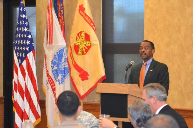The Honorable Jonathan Woodson, M.D., assistant secretary of defense for Health Affairs, addresses the Fort Detrick, Md., chapter of the Silver Caduceus Society at its quarterly meeting Sept. 14.