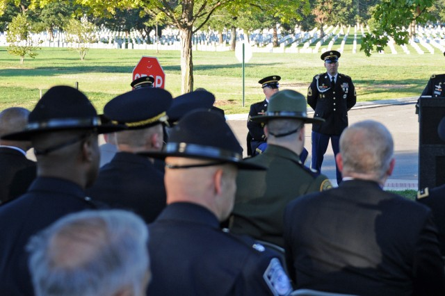 Maj. Gen. David E. Quantock, Army provost marshal general, hosted a Military Police Remembrance Ceremony at Arlington National Cemetery, Va., Sept. 25, 2012, to pay homage to 20 MPs who have lost their lives in Iraq and Afghanistan since January.