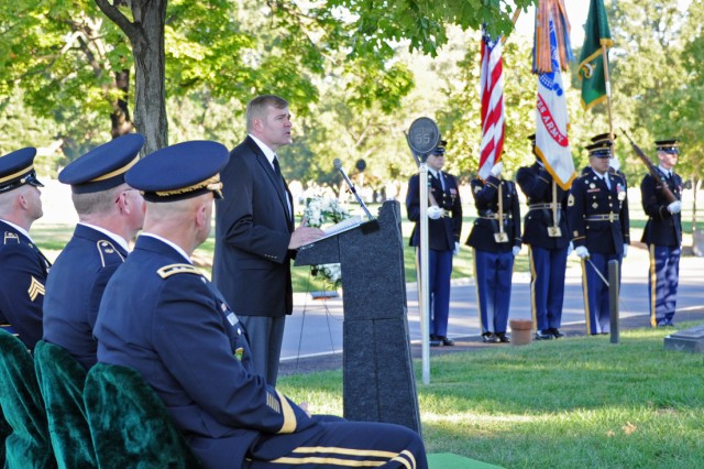 Jeffrey Butler, retired command sergeant major of the Military Police Corps, was the guest speaker at an MP Remembrance Ceremony to pay tribute to 20 MPs who have died in Iraq and Afghanistan since January. The ceremony was held at Arlington National Cemetery, Va., Sept. 25, 2012, on the eve of the MP Corps' 70th birthday.