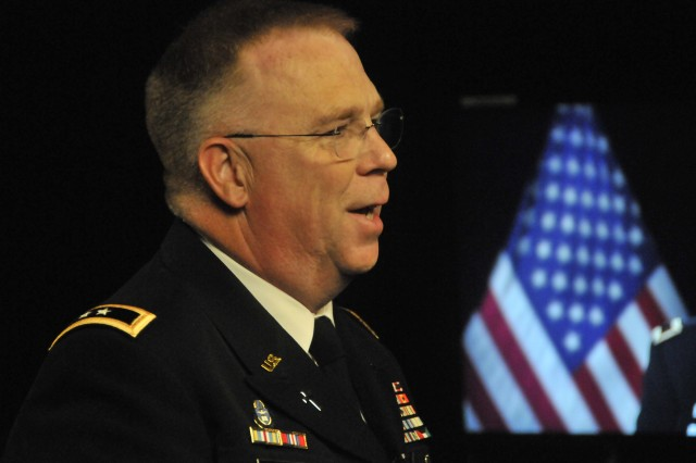 """Army Chief of Chaplains Maj. Gen. Donald L. Rutherford explains how chaplain interventions help prevent suicides as he's taped for a video news segment of """"Soldier's Update."""""""