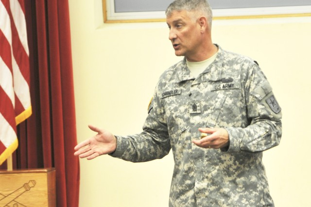 Sgt. Maj. of the Army Raymond Chandler III gives  a presentation to Soldiers and family members about suicide, sexual harrassment and hazing Sept. 14 at the Resiliency Training Campus. He then presented his coins to a few select Soldiers.