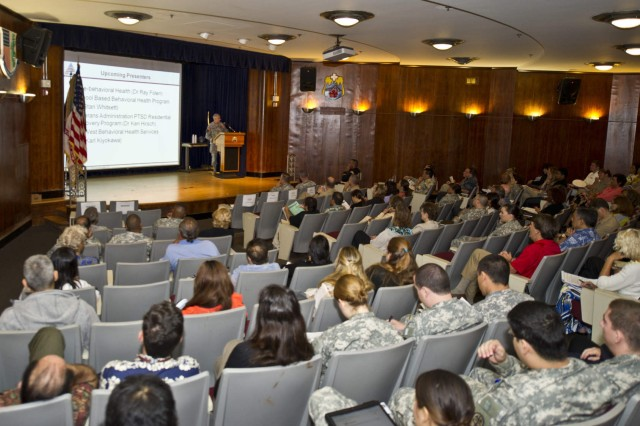 Col. C.J. Diebold, chief, Department of Psychiatry, Tripler Army Medical Center, participates in a panel presentation addressing how Tripler cares for service members and families behavioral health needs in the Pacific region at the 2012 Pacific Region Behavioral Health Summit, Sept. 13-14, 2012, in Tripler's Kyser Auditorium. The summit was the first gathering of behavioral health providers in the Pacific region.
