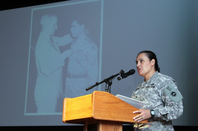 Col. Nora R. Marcos, deputy chief of staff for G-6 at U.S. Army Japan and I Corps (Forward), addresses the audience as the guest speaker at Camp Zama's Hispanic American Heritage Month observance, held Sept. 26 at the Community Activity Center here. More than 200 people attended the event.