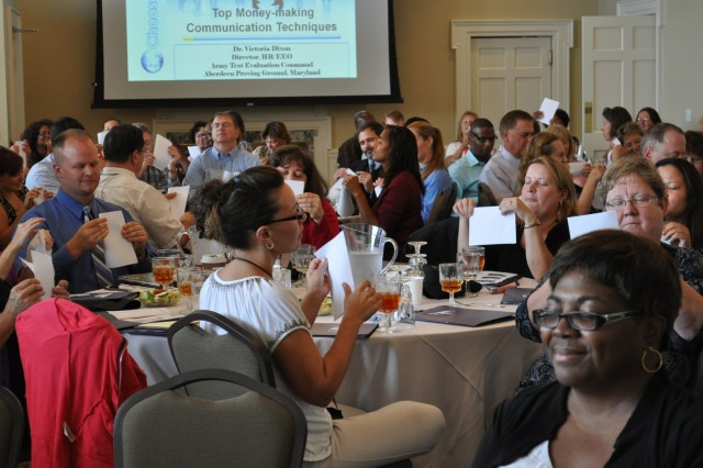 Eighty-three US Army Test and Evaluation Command employees participate in a listening exercise during the first ATEC Workforce Professional Development Day at Top of the Bay here Sept. 5.