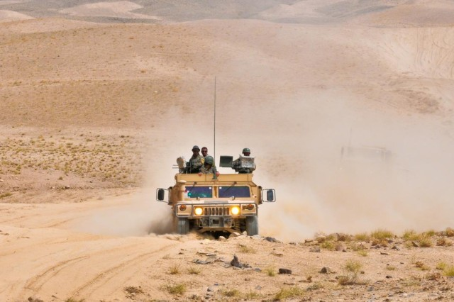 An Afghan National Army vehicle makes its way through southern Afghanistan Sept 5, 2012. The ANA conducted operation Kalak Hode 5 with many mounted and dismounted patrols in the Mizan district.