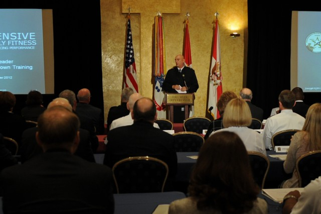 Army Chief of Staff Gen. Ray Odierno opens the senior leader suicide prevention stand down at Joint Base Myer-Henderson Hall, Va., Sept. 27, 2012. The chief stressed the importance of resiliency training in trying to solve the Army suicide problem which has claimed 237 Soldiers as of Sept. 26.