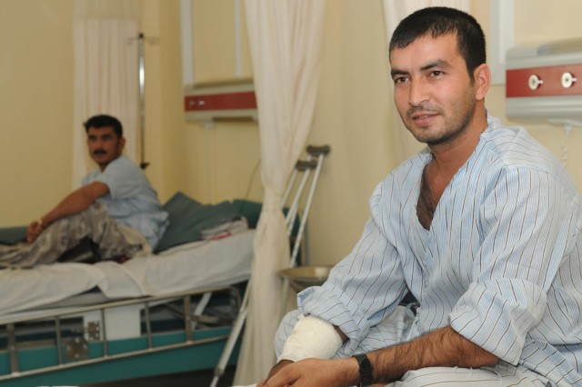 An Afghan National Army soldier recovers after treatment at Kandahar Regional Medical Hospital on Camp Hero in Kandahar, Afghanistan, Sept. 25, 2012. KRMH is one of five hospitals of its kind in the country and specializes in treating Afghan National Army soldiers and Afghan police members.