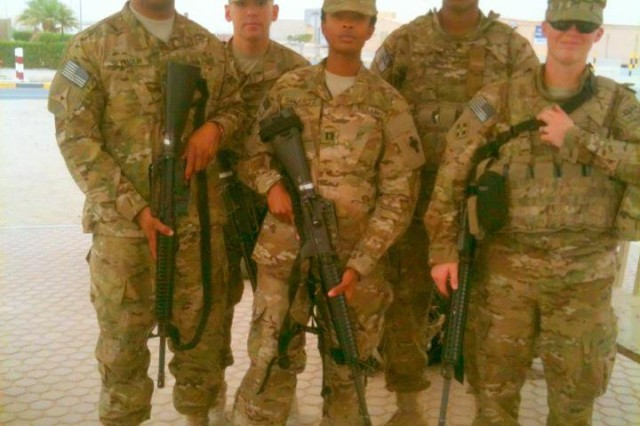 PAAT and PFO team arrives at FOB Shank, Afghanistan; from left to right: PAAT NCOIC - Sgt. 1st Class Michael Seymour, PFO - Sgt. Randall Myers, PAAT OIC - Capt. TiCondra Swartz, PAAT - Spc. Colby Garrett, and PFO - Sgt. 1st Class Dawn Ramos