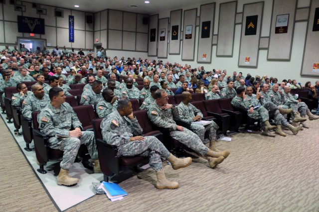 More than 500 Soldiers, civilians and contractors from U.S. Army North gathered Sept. 27, 2012, at Evans Auditorium at Fort Sam Houston, Texas, to participate in an Army-wide suicide prevention safety stand down day training.