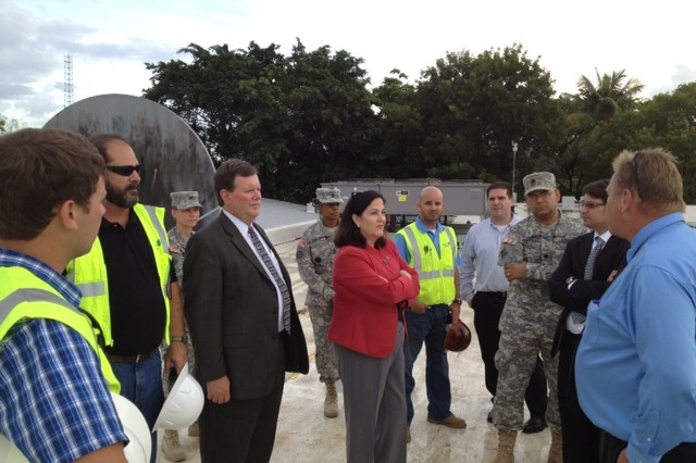 The Honorable Katherine Hammack, Assistant Secretary of the Army for Installations, Energy and Environment, toured Army energy saving projects in Puerto Rico, Sept. 28. During her visit, Hammack met with US Army Reserve-Puerto Rico Commanding General Brig. Gen. Fernando Fernandez and members of the Fort Buchanan installation, to receive updates on the status of U.S. Army energy sustainability initiatives around the island.